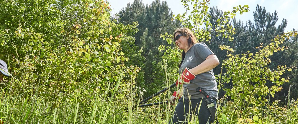 Woman volunteering, clearing forest shrubs