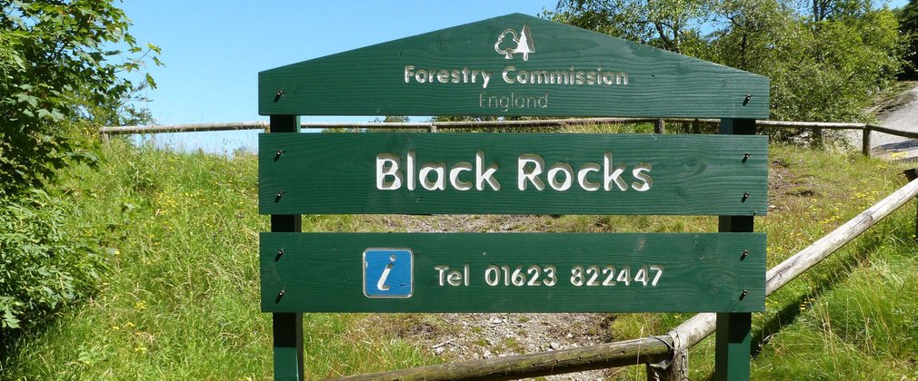 Black Rocks sign