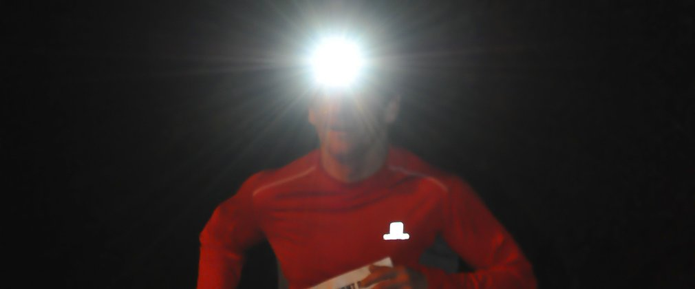 Running with a head torch