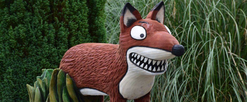 Fox sculpture in the woods, part of the Gruffalo sculpture series
