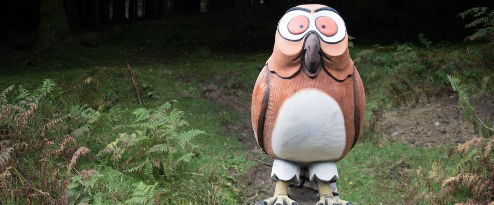 Owl sculpture in the woods, part of the Gruffalo sculpture series