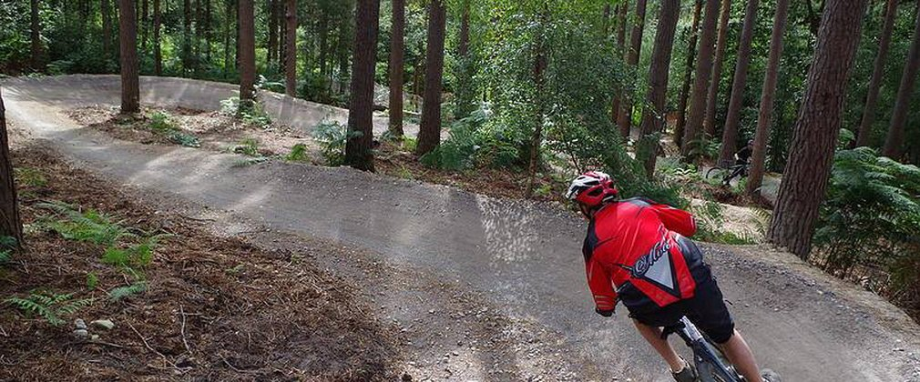 mountain biker on downhill trail