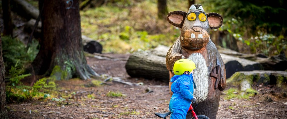 Child on bike looking at Gruffalo's Child Hamsterley Forest