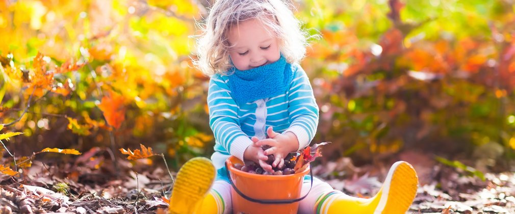 Young girl playing with a bucket of autumn leaves