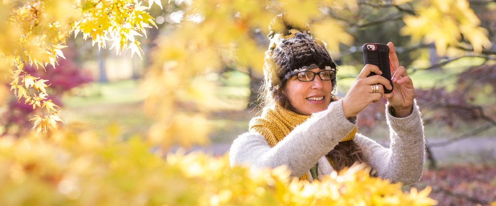 Woman using phone app in Autumn