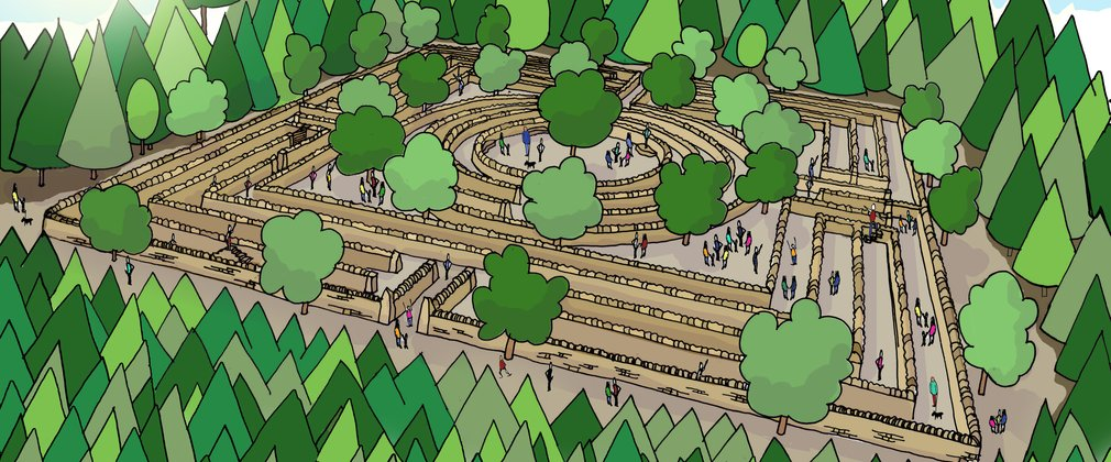 Dalby dry stone wall maze illustration