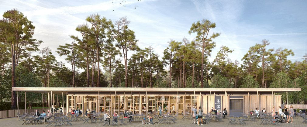 A visualisation of the new cafe building set in Wendover Woods.