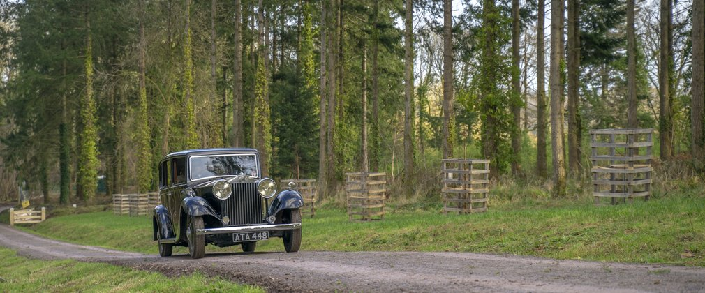 Rolls Royce drives along a forest road with conifer trees in the background.