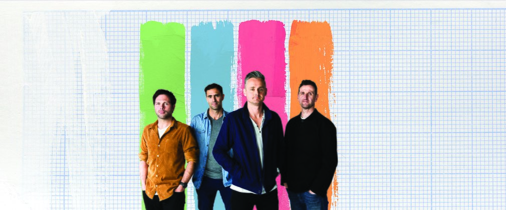 Keane band members on a coloured background