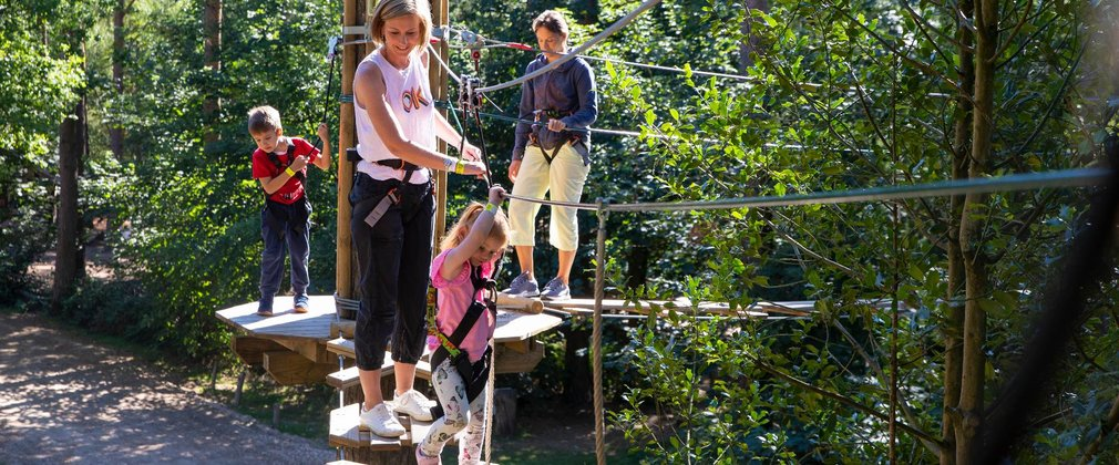Family at Go Ape tree top junior