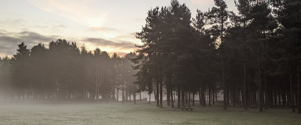 Sherwood Pines Arena on a Misty Morning