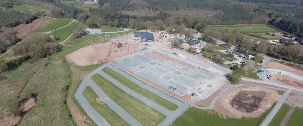 Aerial view of car park under construction