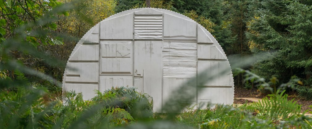 End profile view of Rachel Whiteread's Nissen Hut, Dalby Forest
