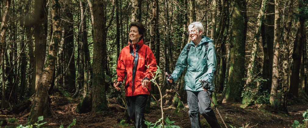 Two women Nordic walking with poles in the forest