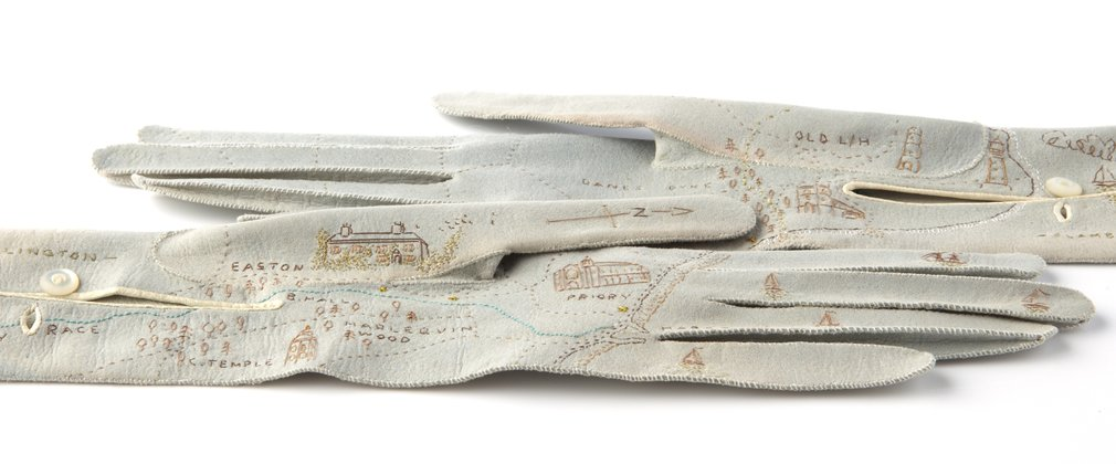 Pair of embroidered gloves created by Serena Partridge