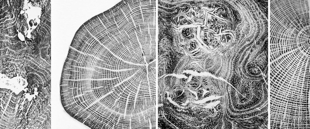 prints created by hand from wood