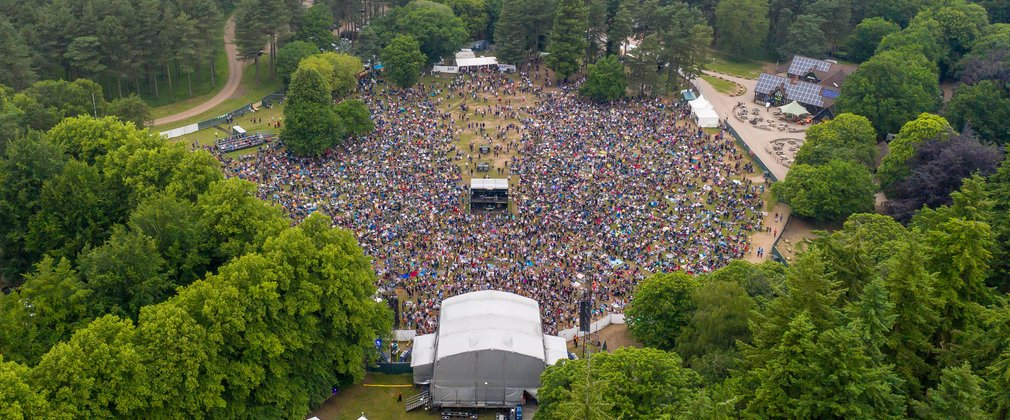 Aerial photo of the Forest Live stage at Thetford