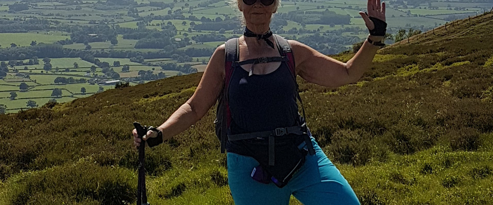Woman posing nordic walking