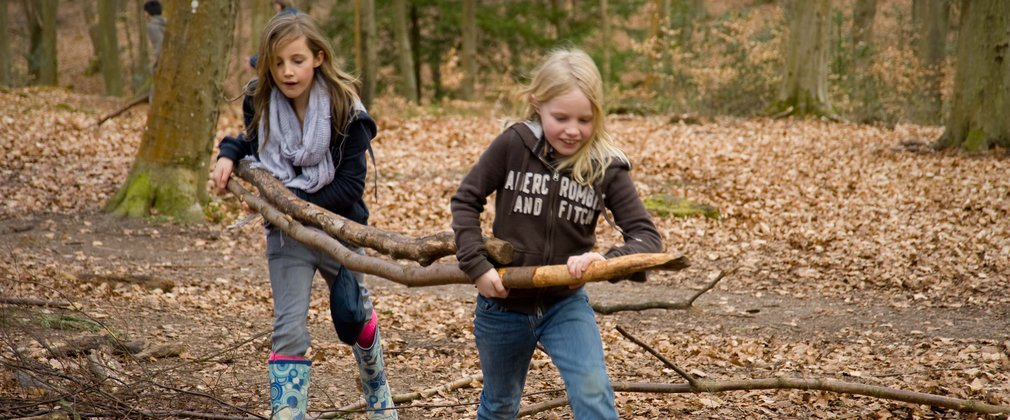Two girls carrying branches to build a den in the woods
