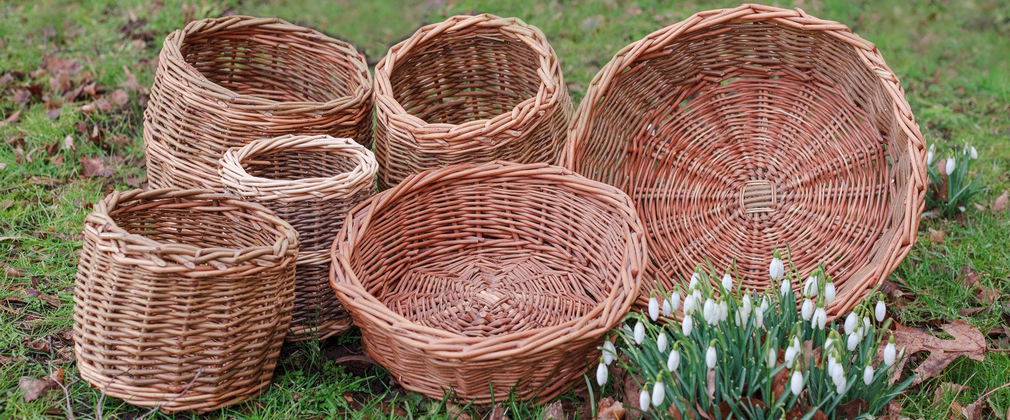 Round willow baskets with snowdrops