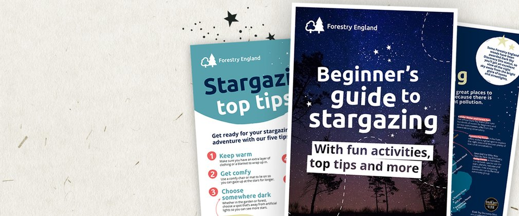 Pages of the Beginner's guide to stargazing surrounded by stars