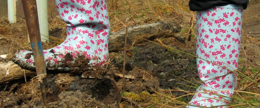 Close up of wellies planting a tree in the forest