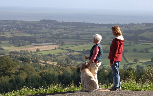 Walkers with their dog enjoying the view from Mamhead