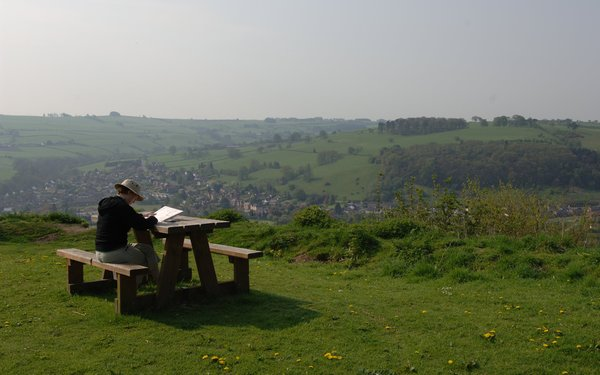 Picnic tables at Kinsley Wood overlooking Knighton