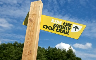 Family Cycle ride signpost
