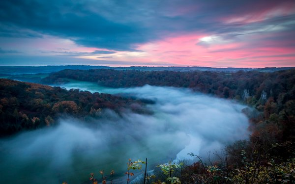 Mist in the valley over Symonds Yat