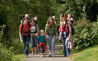 Families enjoying a walk in the forest