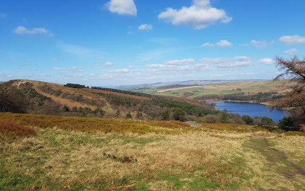 Goyt Valley landscape with views over reservoir
