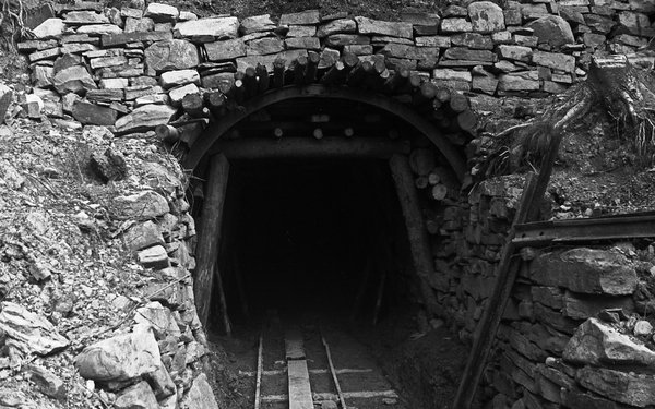 Mine entrance black and white