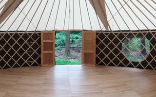 Inside of a yurt in the forest