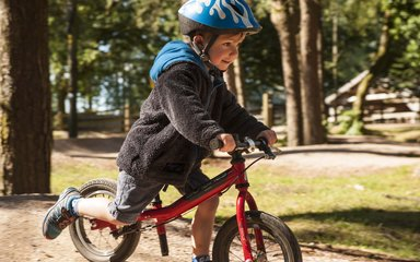 Little boy cycling