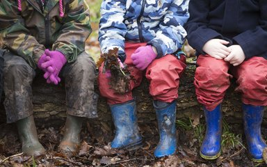 Kids with welly boots