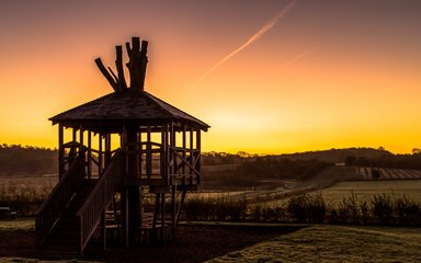 The treehouse play area at sunset