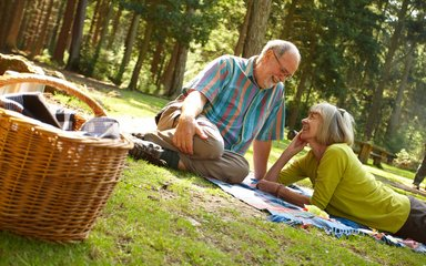 couple enjoying a picnic in a clearing within a forest