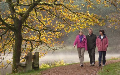 walkers enjoying a walk around a woodland lake in autumn