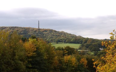 View of Blackdown Hills with Wellington Monument. Somerset.
