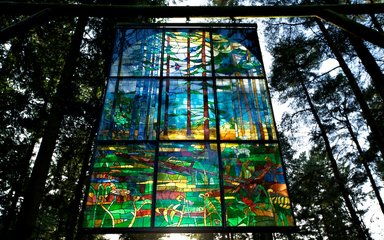 Stained glass hanging from trees
