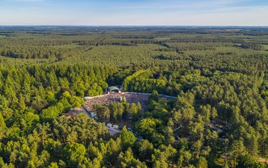 An aerial view of the Forest Live stage at Thetford Forest