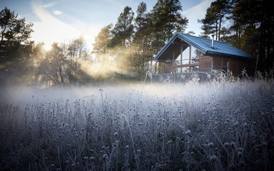 Forest Holidays cabin on a crisp winters day