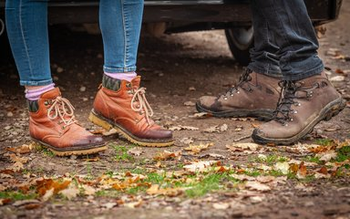 Walking boots in autumn