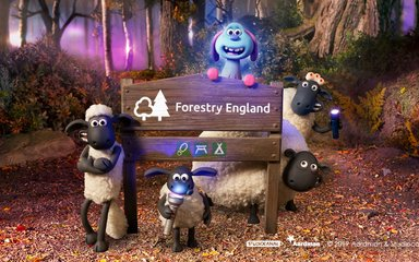 Shaun the Sheep, Lu-La and friends surroudn a Forestry England sign
