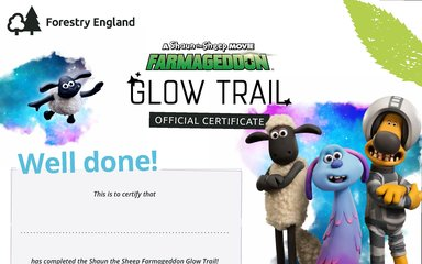 Shaun the Sheep Glow Trail Certificate