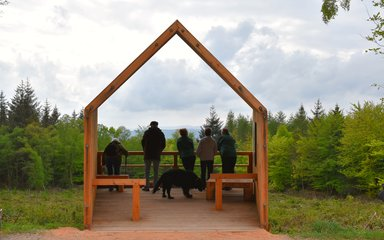 A group of people stand in a timber structure looking across the countryside