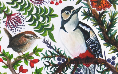 Drawing of birds on berry tree