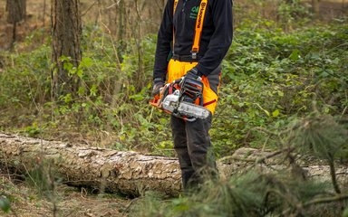 Forestry England staff holding a chainsaw
