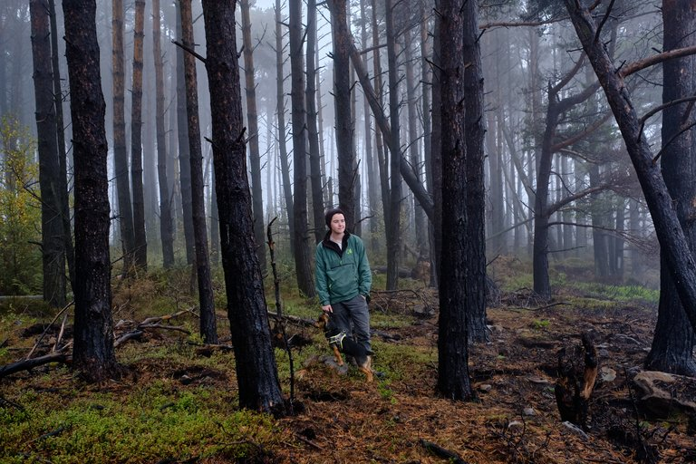 Woman stood amongst Dark tree trunks in the heart of the forest